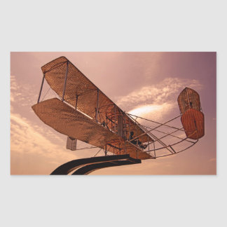 Aviones del aviador de Wright Pegatina Rectangular