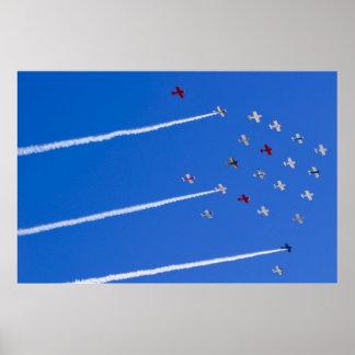 Aviones del equipo de rv en la formación póster