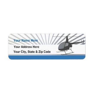 Aviones del helicóptero etiquetas de remite