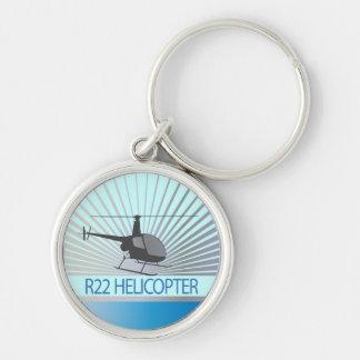 Aviones del helicóptero llavero redondo plateado