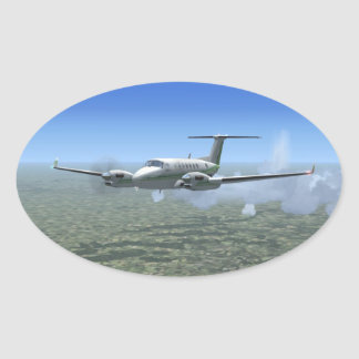 Aviones del turbopropulsor del Rey-Aire Pegatina Ovalada