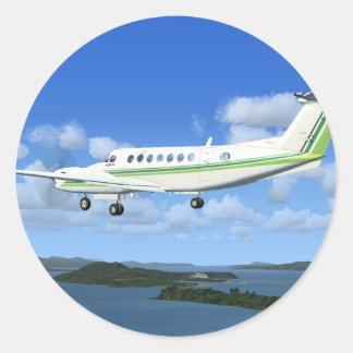 Aviones del turbopropulsor del Rey-Aire Pegatina Redonda