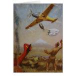 Aviones del vintage con la tarjeta del paracaídas