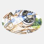 Aviones del vintage de Beachcraft Staggerwing Pegatina Ovalada