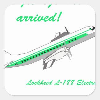 Aviones del vintage de Lockheed Electra Pegatina Cuadrada