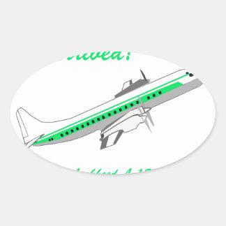 Aviones del vintage de Lockheed Electra Pegatina Ovalada