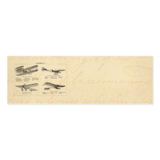 Aviones retros de la antigüedad del biplano del ae tarjeta de negocio