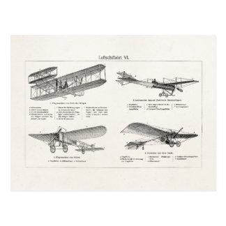 Aviones retros de la antigüedad del biplano del ae tarjetas postales