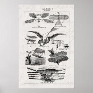 Aviones retros de los dirigibles de los aeroplanos posters