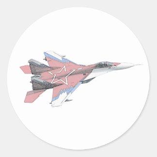 Aviones rusos de la caza a reacción del MiG Pegatinas Redondas