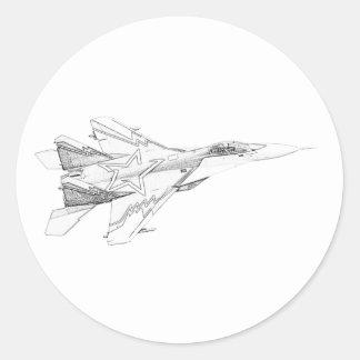 Aviones rusos de la caza a reacción del MiG Etiqueta Redonda