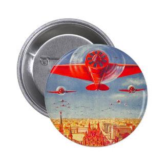 Aviones soviéticos de la propaganda del vintage de pin redondo de 2 pulgadas