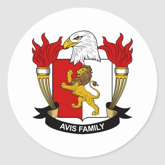 Avis Family Crest Classic Round Sticker