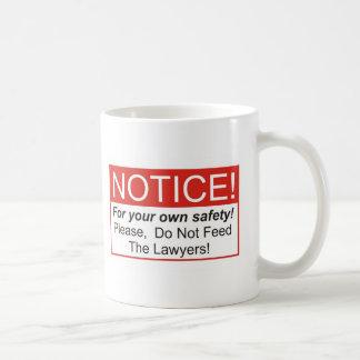 Aviso abogado tazas de café