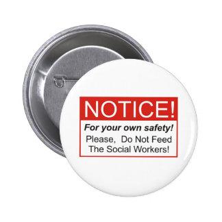 Aviso/asistente social pin redondo de 2 pulgadas