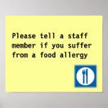 Aviso de la alergia alimentaria del restaurante