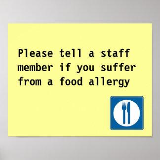 Aviso de la alergia alimentaria del restaurante posters