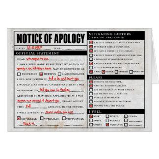 Aviso de la disculpa de Rickroll Astley Tarjeta