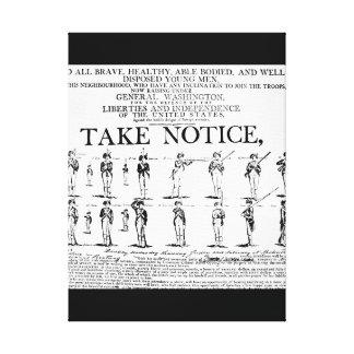 Aviso de reclutamiento del ejército usado durante impresión en tela