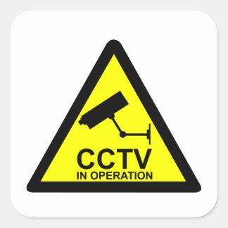 Aviso del CCTV Pegatina Cuadrada