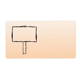 Aviso del poste indicador. Bosquejo negro Etiqueta De Envío