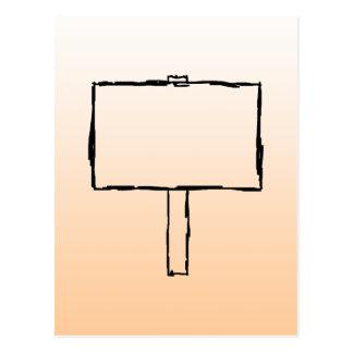 Aviso del poste indicador. Bosquejo negro Tarjeta Postal