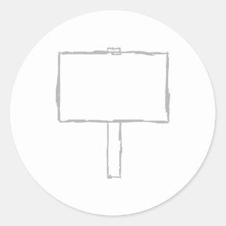 Aviso del poste indicador. Gris y blanco Etiqueta Redonda