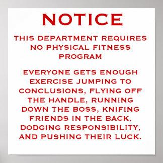 Aviso del programa de fitness poster