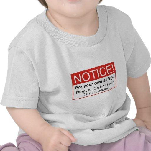 Aviso/dinosaurio Camisetas
