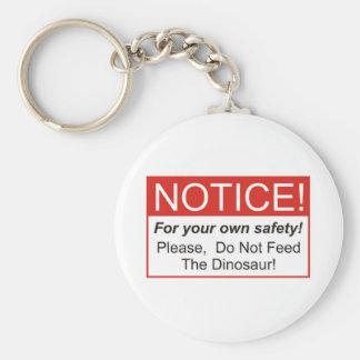 Aviso dinosaurio llavero personalizado