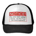Aviso/ingeniero civil gorras de camionero