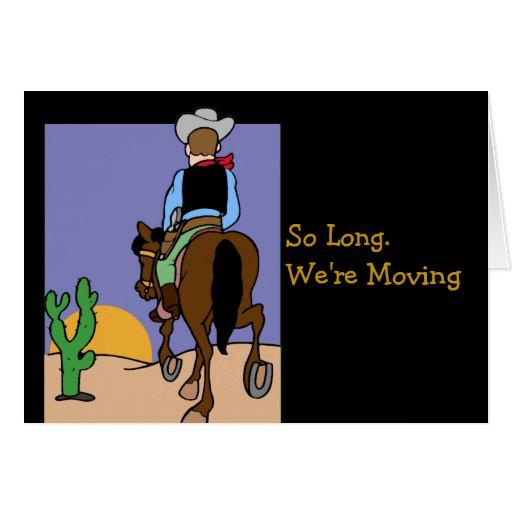 Aviso móvil del vaquero tarjeta de felicitación