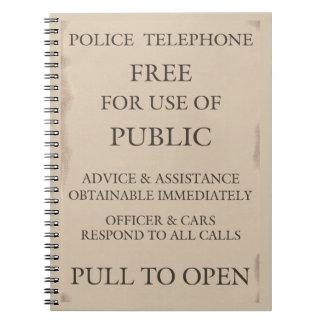Aviso público de la caja del teléfono de la llamad libretas espirales