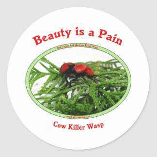 Avispa del asesino de la vaca del dolor de la etiquetas redondas