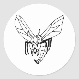 Avispa del avispón de la abeja pegatina redonda