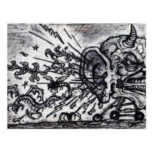 Avispones del oído del infierno tarjetas postales