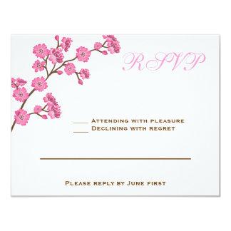 Avital Chocolate Brown Pink RSVP Card