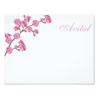 Avital Pink Blossoms Bat Mitzvah Thank You Card
