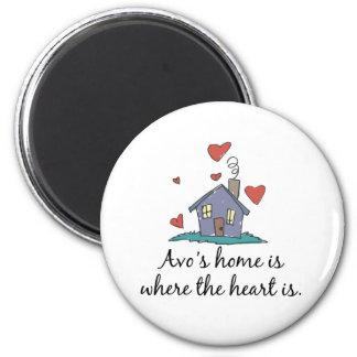 Avo's Home is Where the Heart is Fridge Magnet