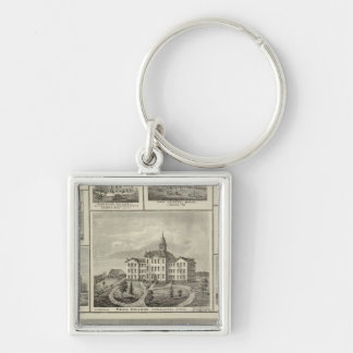 Avoca Penn College, Oskaloosa buildings in Dexter Silver-Colored Square Keychain