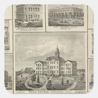 Avoca Penn College, Oskaloosa buildings in Dexter Square Sticker