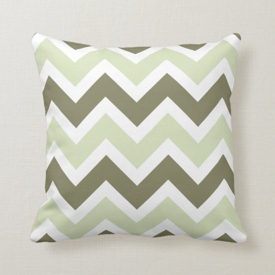 Avocado and Celery Green Chevron Zigzag Pattern Throw Pillow