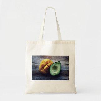 Avocado and mango pair budget tote bag