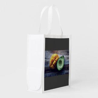 Avocado and mango pair reusable grocery bag