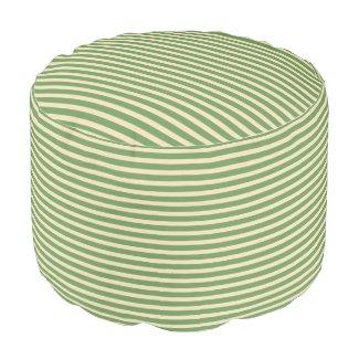 Avocado Green and Tan Stripes Pouf