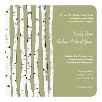 Avocado Green Birch Tree Wedding Invitations