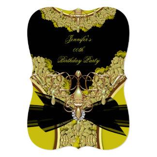Avocado Green Birthday Party Black Lace Jewel 5x7 Paper Invitation Card