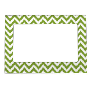 Avocado Green Chevron Ikat Pattern Magnetic Picture Frame