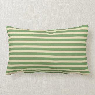 Avocado Green Cream Stripe Indoor Lumbar Pillow