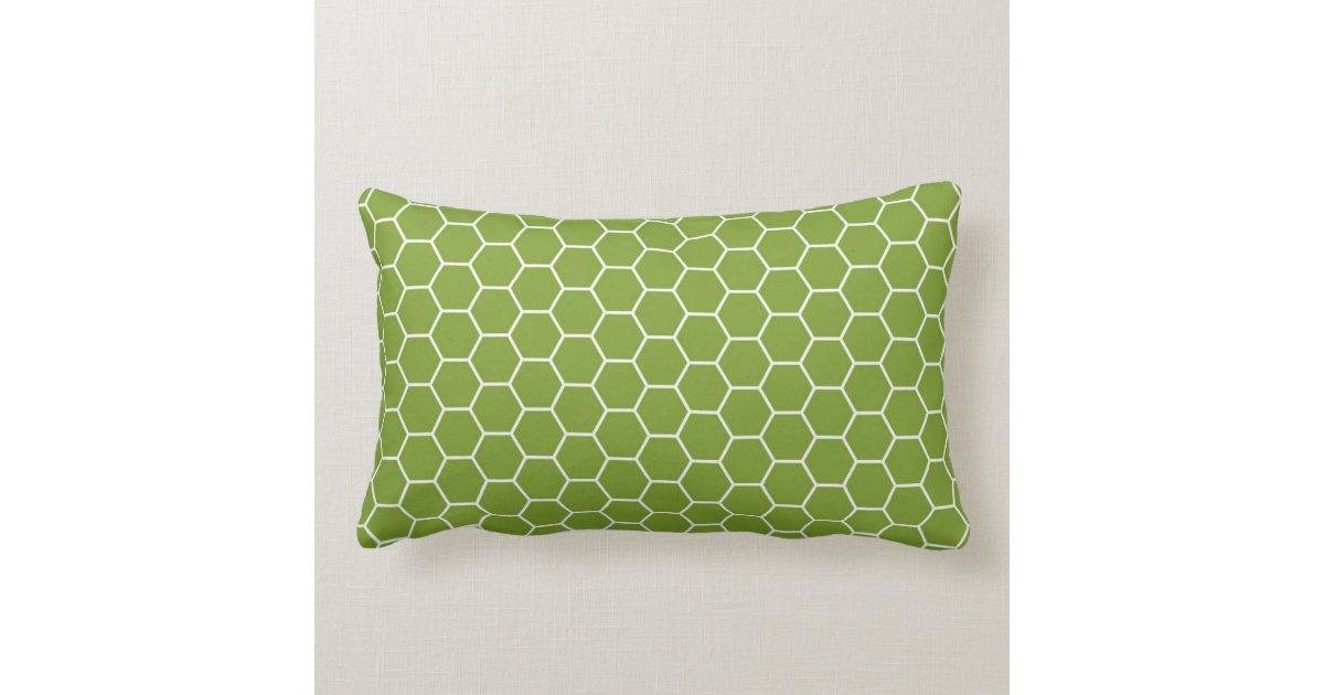 Green Geometric Throw Pillow : Avocado Green Honeycomb Hexagon Geometric Pattern Throw Pillow Zazzle